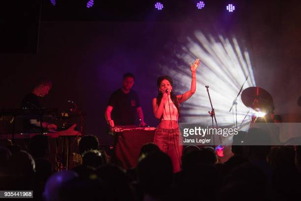Electronic musician George FitzGerald and his full live band perform live on stage during a concert at Schwuz on March 20 2018 in Berlin Germany