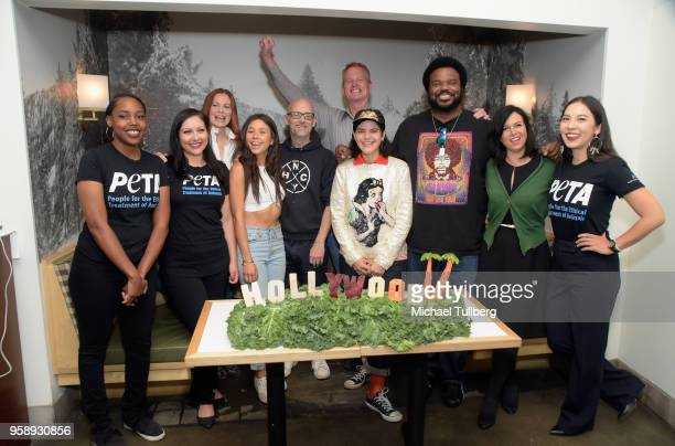 Electronic musician Moby Dan Matthews and Lisa Lange and guests pose at a PETA press conference to declare Los Angeles as the 'Most VeganFriendly...