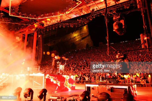 Electronic musicians Clayton Knight and Harrison Mills of Odesza perform in front of a sold out crowd at Red Rocks Amphitheatre on May 27 2017 in...