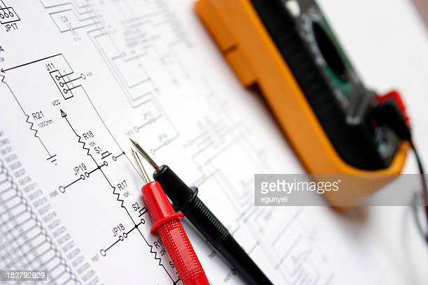 Electronic schematic and multimeter
