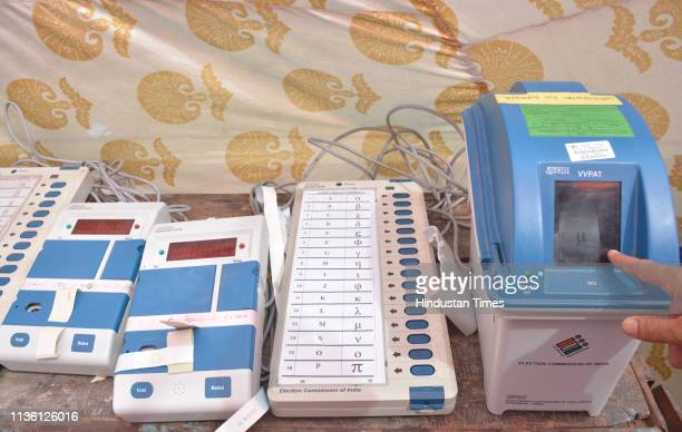 Electronic Voting Machine seen ahead of Lok Sabha elections at CPW Ground Kamla Nehru Nagar on April 10 2019 in Ghaziabad India The Ghaziabad...