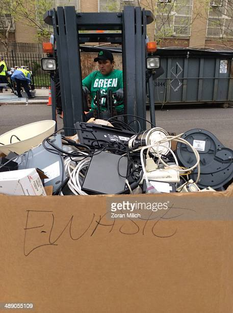 Electronic waste on a forklift at the Safe Disposal program organized by the government of New York offers residence a drivethrough drop off their...