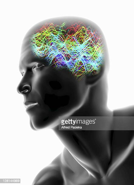 Electronic waves in brain of male figure against white background