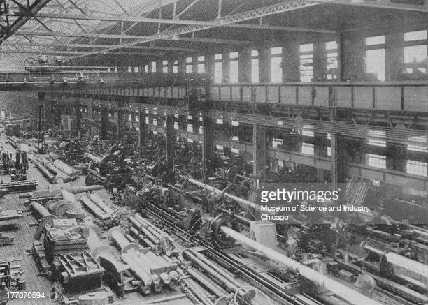 Electronically Driven Saw Mills Cut 12961 Transmission Machinery black and white image of a Heavy Shafting Department inside a factory which is where...