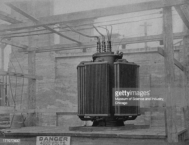 Electronically Driven Saw Mills Cut 16834 Transformers black and white illustration of a 4000 volt 3 phase transformer manufactured by Allis Chalmers...