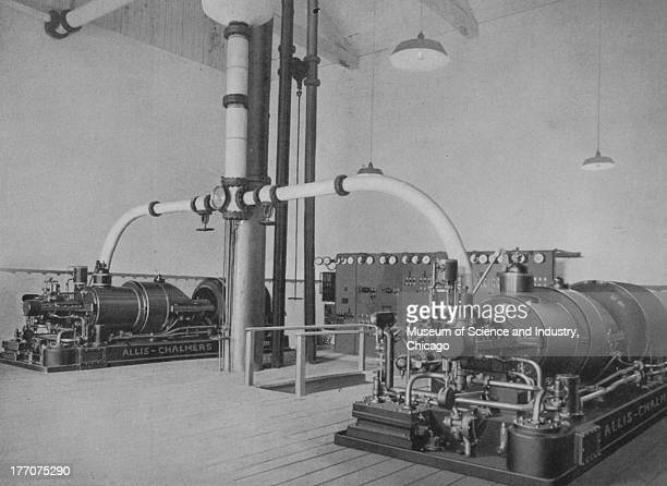 Electronically Driven Saw Mills Cut 17296 Clear Lake Lumber Company black and white image o a 1000 kilowatt and a 750 kilowatt steam turbo generators...