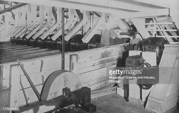 Electronically Driven Saw Mills Cut 9247 black and white image of ten saw slashers at the Union Lumber Company slashers are connected to an...