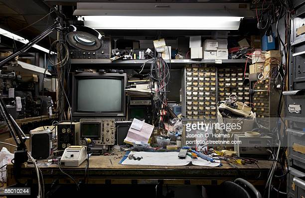 electronics bench 1 (workspace) - joseph o. holmes stock pictures, royalty-free photos & images