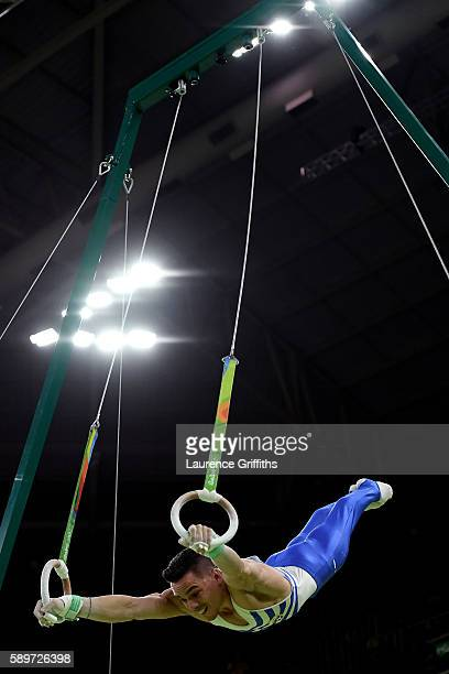 Eleftherios Petrounias of Greece competes in the Men's Rings Final on day 10 of the Rio 2016 Olympic Games at Rio Olympic Arena on August 15 2016 in...