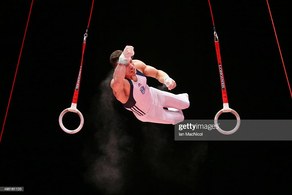 Eleftherios Petrounias of Greece competes on the Rings during day nine of World Artistic Gymnastics Championships at The SSE Hydro on October 31, 2015 in Glasgow, Scotland.