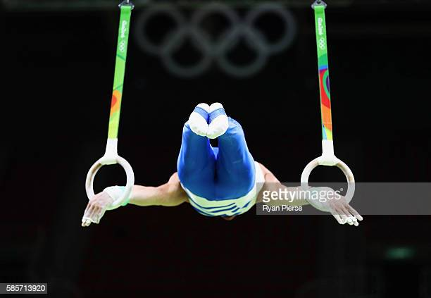 Eleftherios Petrounias of Greece trains on the rings ahead of the Artistic Gymnastics Event at the Olympic Park on August 3 2016 in Rio de Janeiro...