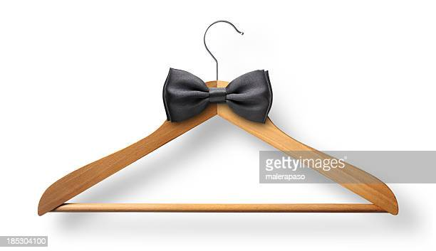 elegant attire. coat hanger with bow tie. - evening wear stock pictures, royalty-free photos & images