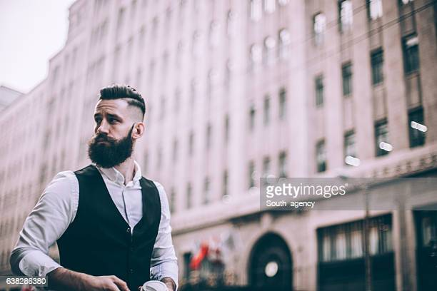 elegant bearded man - waistcoat stock photos and pictures