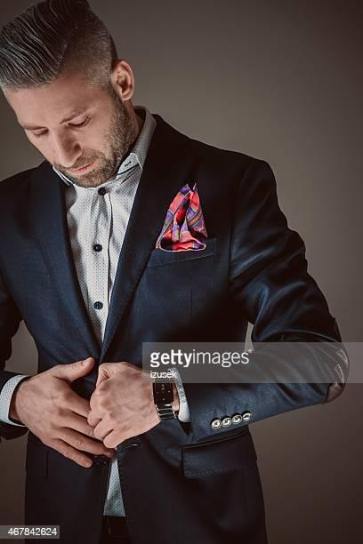 Elegant bearded man wearing jacket