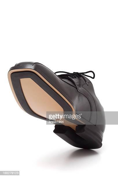 エレガントなブラックレザーの男性の靴 - レザー・シューズ ストックフォトと画像