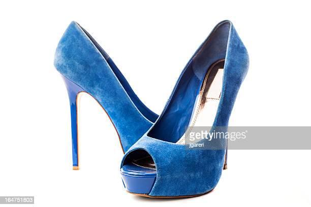 Elegant blue suede high heels