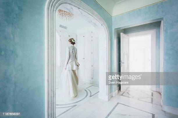 elegant bride in lace wedding dress - puerto del carmen stock pictures, royalty-free photos & images
