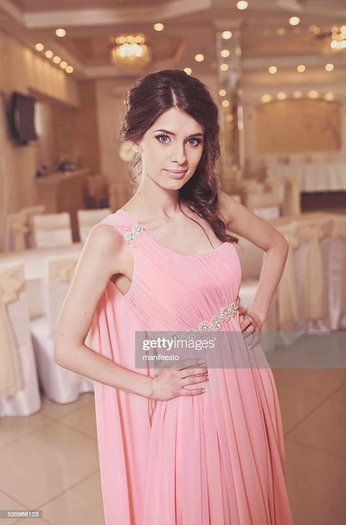 Elegant bride  wearing beautiful dress in restaurant. : Stock Photo