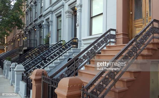 Elegant brownstones and townhouses along 126th Street in Harlem, Manhattan, New York City