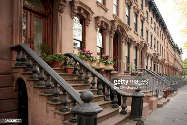 elegant brownstones and townhouses in brooklyn, new york city - deed stock photos and pictures