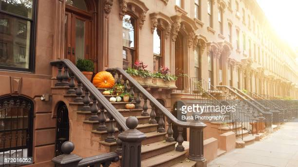 elegant brownstones and townhouses in the district of fort greene, in brooklyn, new york city - fort greene stock pictures, royalty-free photos & images
