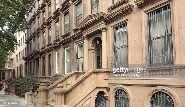 Elegant brownstones and townhouses in the district of Fort Greene, in Brooklyn, New York City