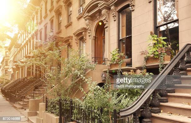 elegant brownstones and townhouses in the district of fort greene, in brooklyn, new york city - piedra caliza fotografías e imágenes de stock