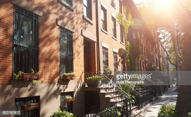 elegant brownstones and townhouses in the fort greene area of brooklyn, new york city - piedra caliza fotografías e imágenes de stock