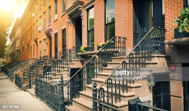elegant brownstones and townhouses in the fort greene area of brooklyn, new york city - fort greene stock pictures, royalty-free photos & images