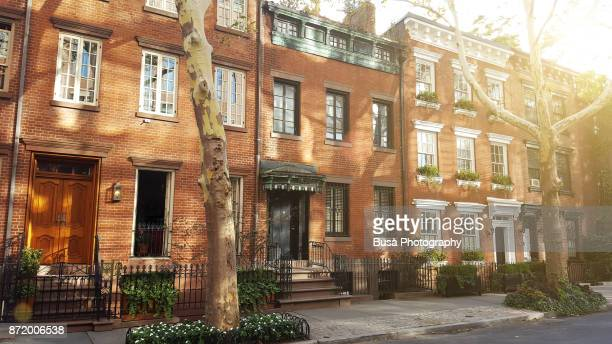 elegant brownstones and townhouses in the west village. manhattan, new york city - terraced_house stock pictures, royalty-free photos & images