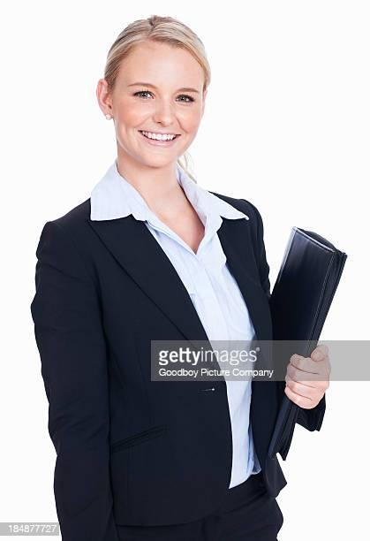 Elegant business woman with folder