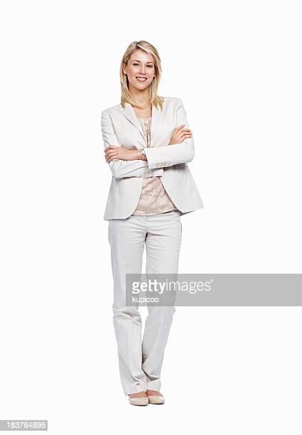 Elegante Geschäftsfrau auf weißem Hintergrund
