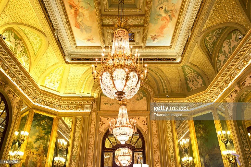 Elegant Chandeliers In La Selle Medicin Room Inside Monte Carlo Casino, Monaco : News Photo