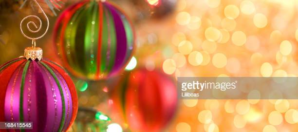 elegant christmas baubles - christmas banner stock photos and pictures