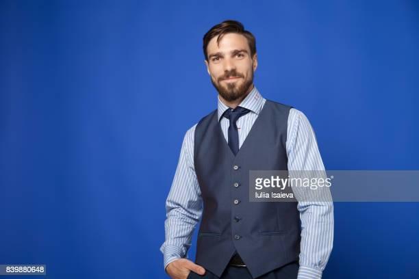 Elegant confident man smiling at camera