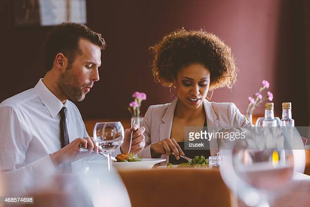 Elegant couple at dinner in the restaurant