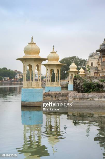Elegant cupolas line the banks of Lake Pichola in the 16th Century city of Udaipur, India