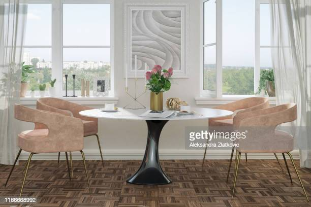 elegant dining room - dining room stock pictures, royalty-free photos & images