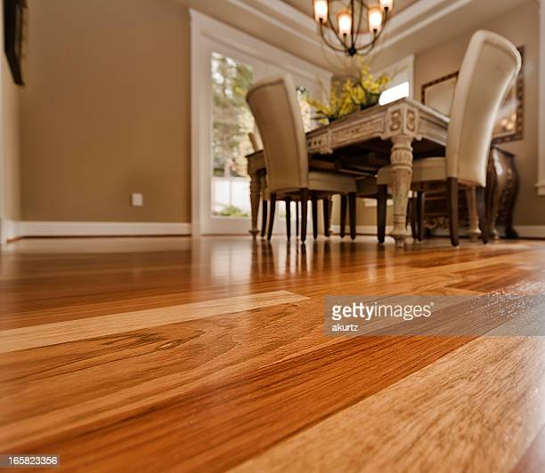 Elegant dining room table on hardwood floor