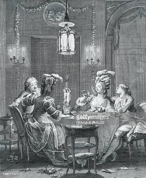 Elegant dinner drawing by JeanMichel Moreau the Younger engraving by IsidoreStanislausHenri Helman Paris Bibliothèque Nationale De France