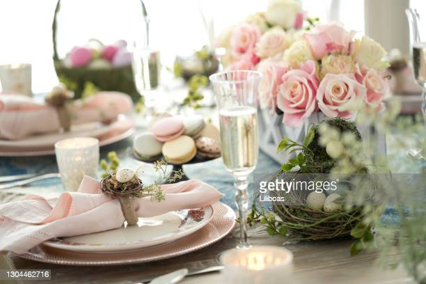elegant easter dining table - easter dinner stock pictures, royalty-free photos & images