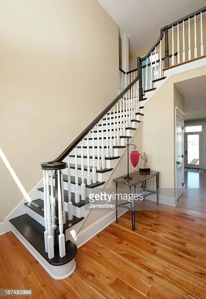 Elegant Entry Foyer, White, Black Staircase, Wide Angle, Home Interior