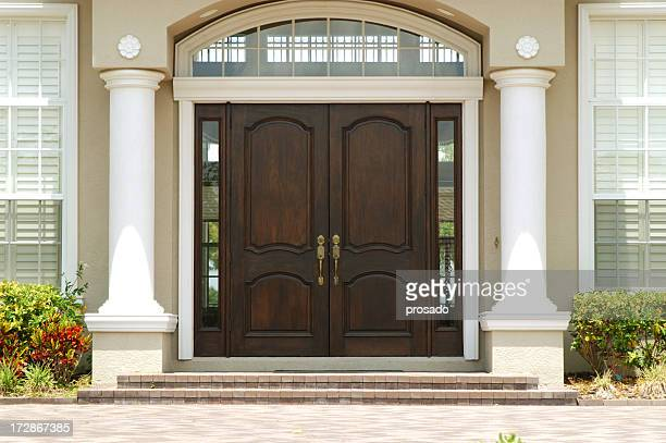 elegant entry to luxury home - door stock pictures, royalty-free photos & images