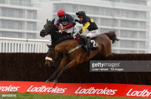Elegant Escape ridden by Harry Cobden lead Black Corton ridden by Bryony Frost over the last fence before going on to win The Ladbrokes John...
