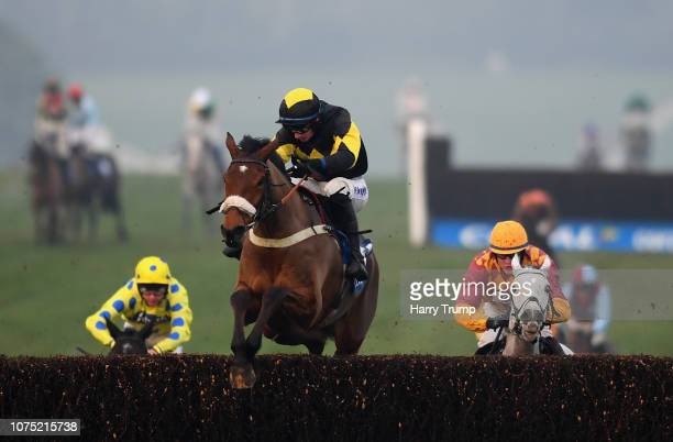 Elegant Escape ridden by Tom O'Brien jumps the last before going onto win the Coral Welsh Grand National Handicap Chase at Chepstow Racecourse on...