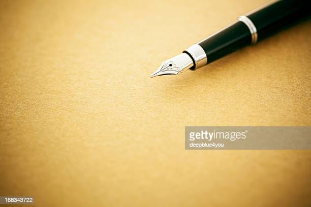 elegant fountain pen on old empty paper - handwriting stock pictures, royalty-free photos & images