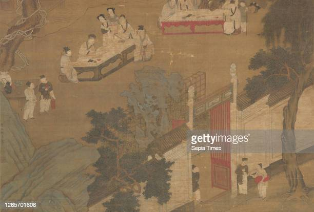Elegant Gathering in the Western Garden, Copy of Qiu Ying , Ming dynasty, about 1600, ink and color on silk, 53-1/8 in. X 26-3/4 in. 107 x 33-3/8 in....
