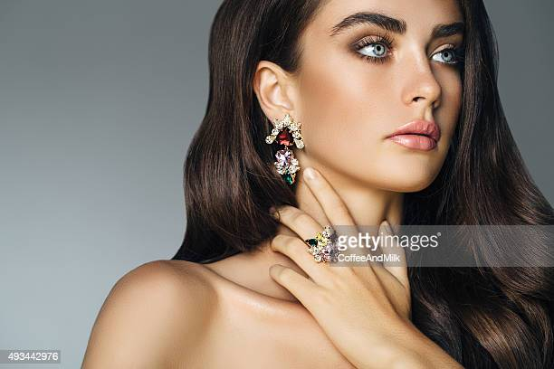 elegant girl advertising jewelry - diamond gemstone stock pictures, royalty-free photos & images