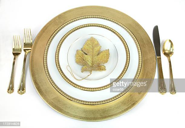 Elegant Gold and white Place Setting with leaf