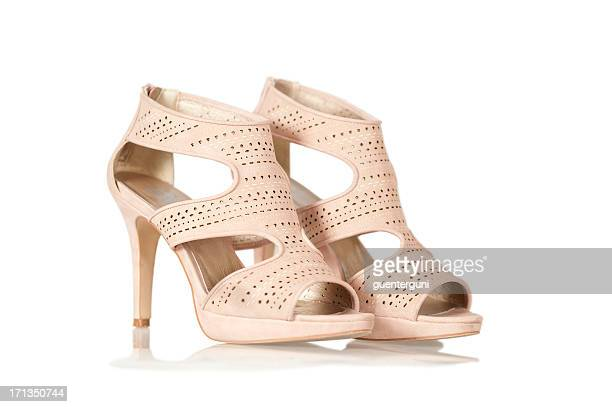 elegant high heels sandals in nude color - brown shoe stock pictures, royalty-free photos & images